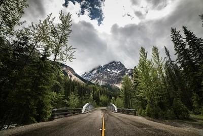 Driving through Banff National Park