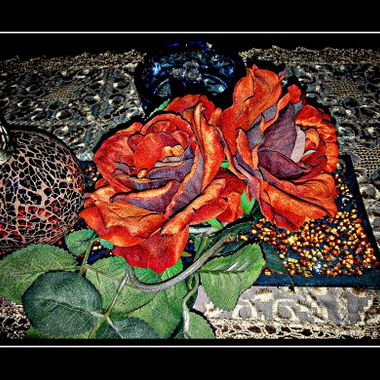 Cloth Flowers as a table deco.