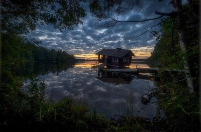 """Sunset at the """"drunken sauna"""""""