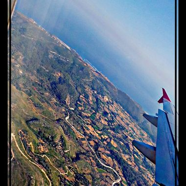 View from Aeroplane shortly after take off from Samos.