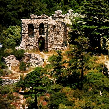 An old ruin of a fortress on the Island of Samos.