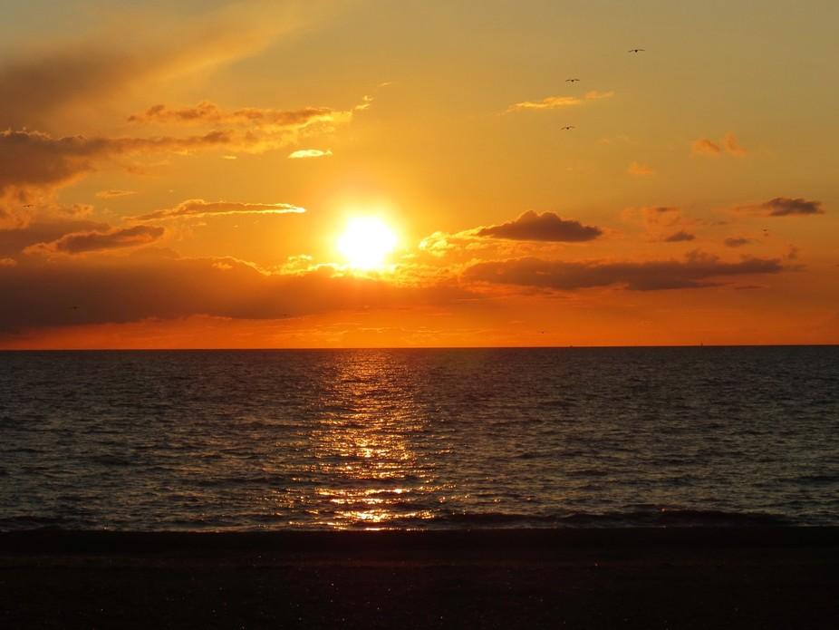 Watching the beautiful sunset at Heacham