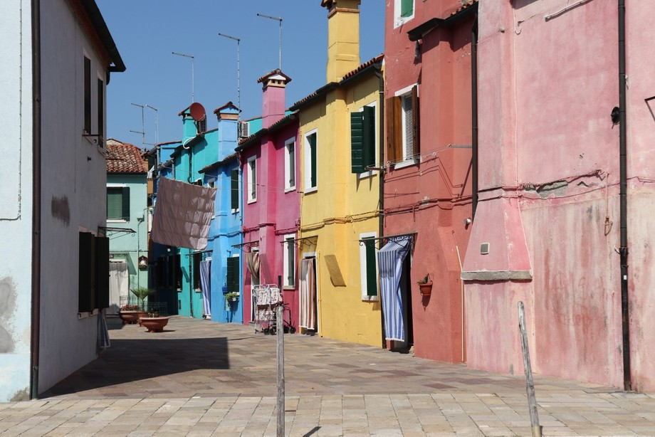 Burano, near Venice, Italy, is a small island that is known for its colourful buildings. Every ho...