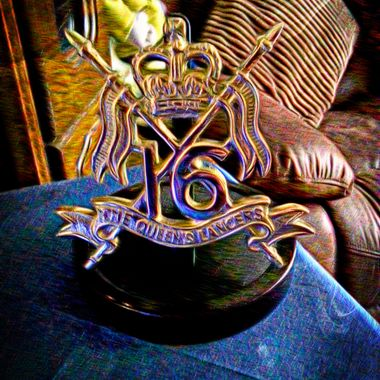 Regimental Cap Badge of The 16th 5th The Queen's Royal Lancers, my old regiment.