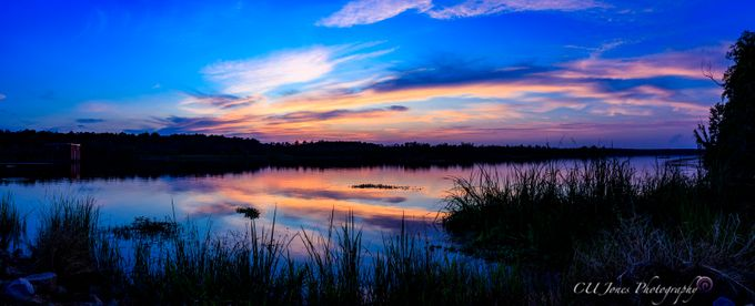Panoramic of Bushy Park Boat Landing in Goose Creek, South Carolina.