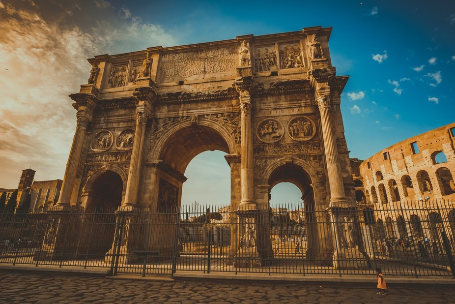 The grandeur of Rome and the grandeur of a human being. We fawn our the glories of a world long p...