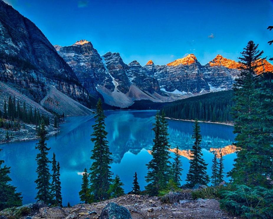Lake Moraine at sunrrise, Alberta, Canada