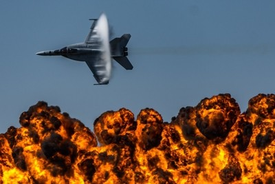 F18 Sonic Boom with Fire