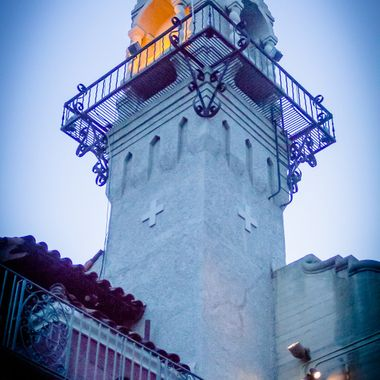 Shot an engagement set of photos at the Mission Inn in downtown Riverside. This is one of the towers at the inn from ground level looking up near dusk.