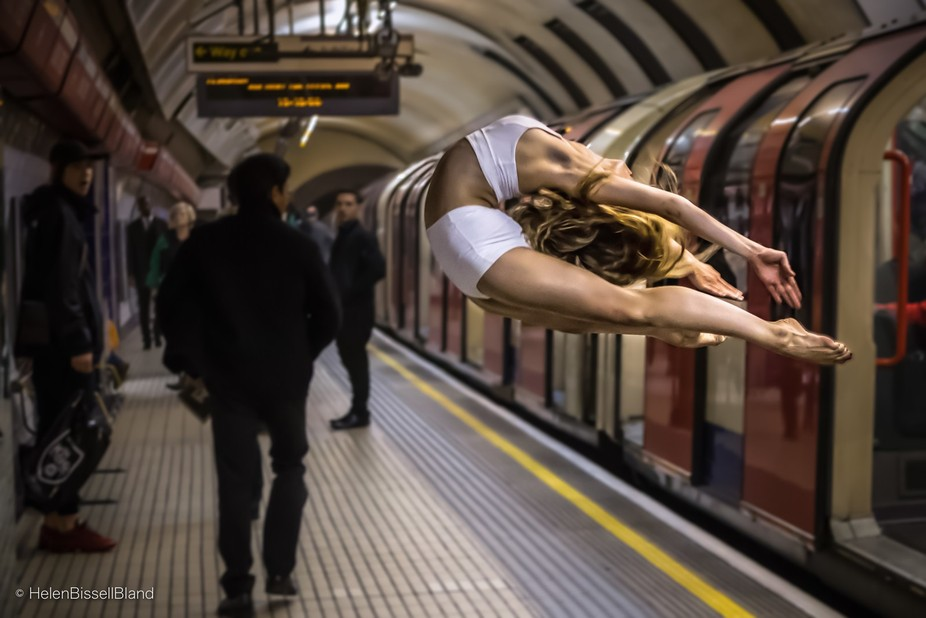 Dancer getting off a train