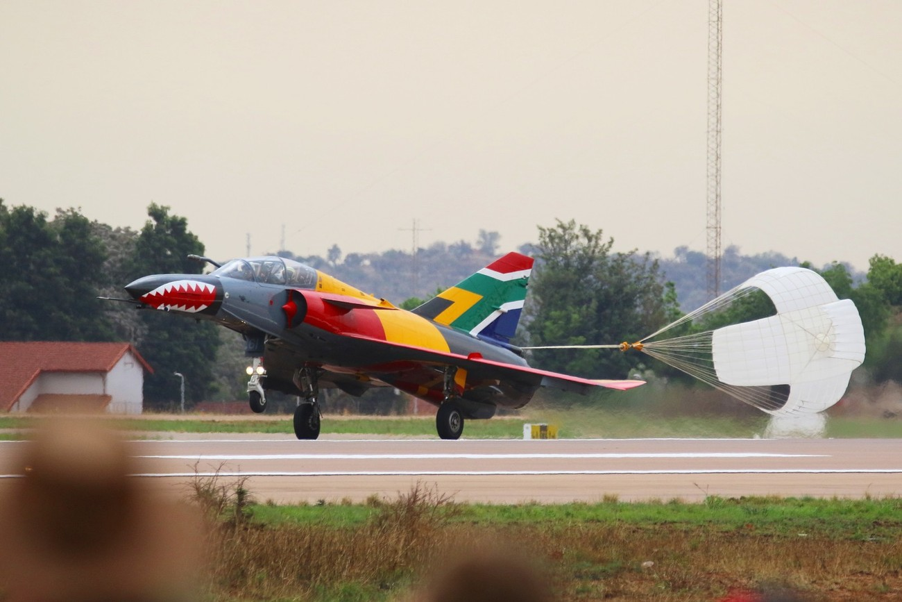 A Cheetah fighter aircraft of the SAAF landing after going through it paces during the 2016 AAD show.