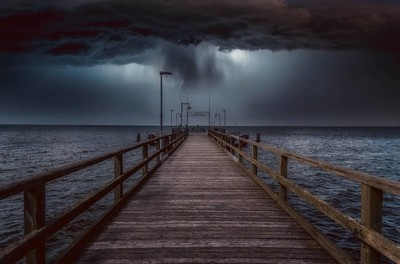 Thunderstorm on the sea