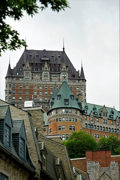 Chateau Frontenac from Lower City at Les Batteries du Quebec