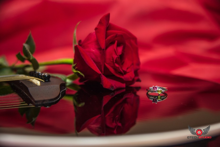 Colorful engagement ring with red rose and a lovely reflection