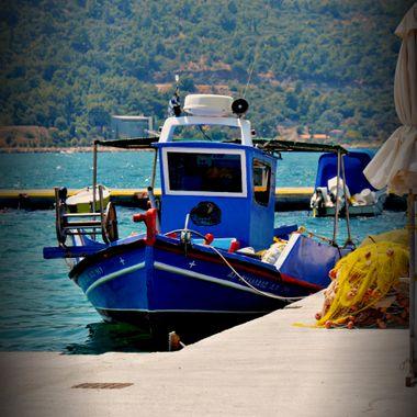 A blue Greek fishing boat.