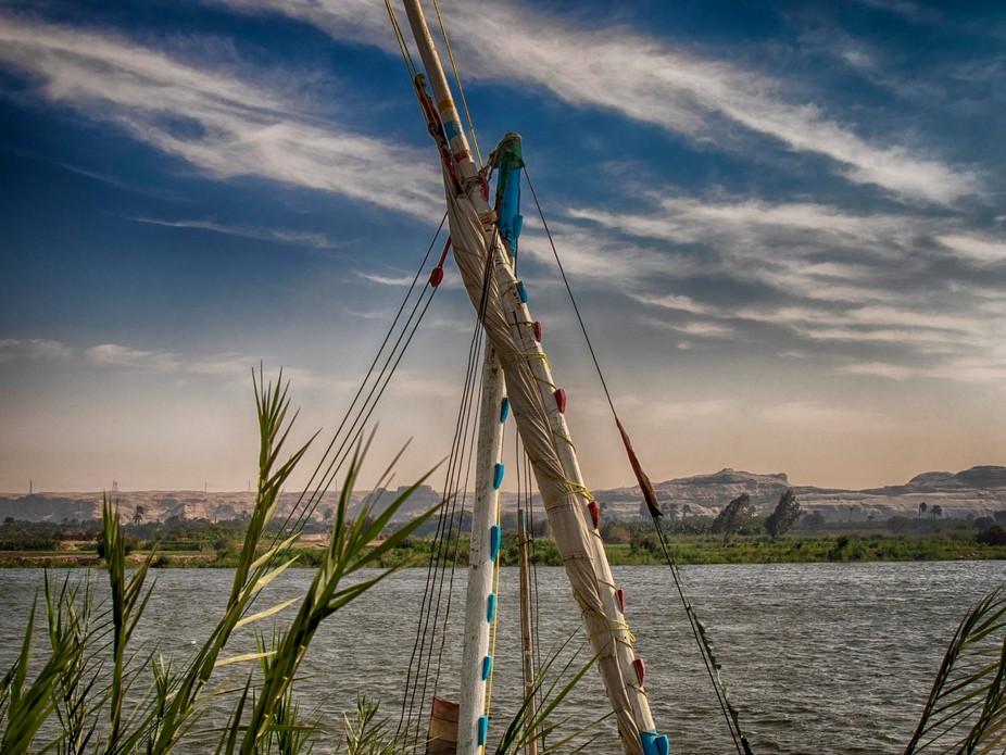 Fishing boat in one of Egypt lake named Al borols