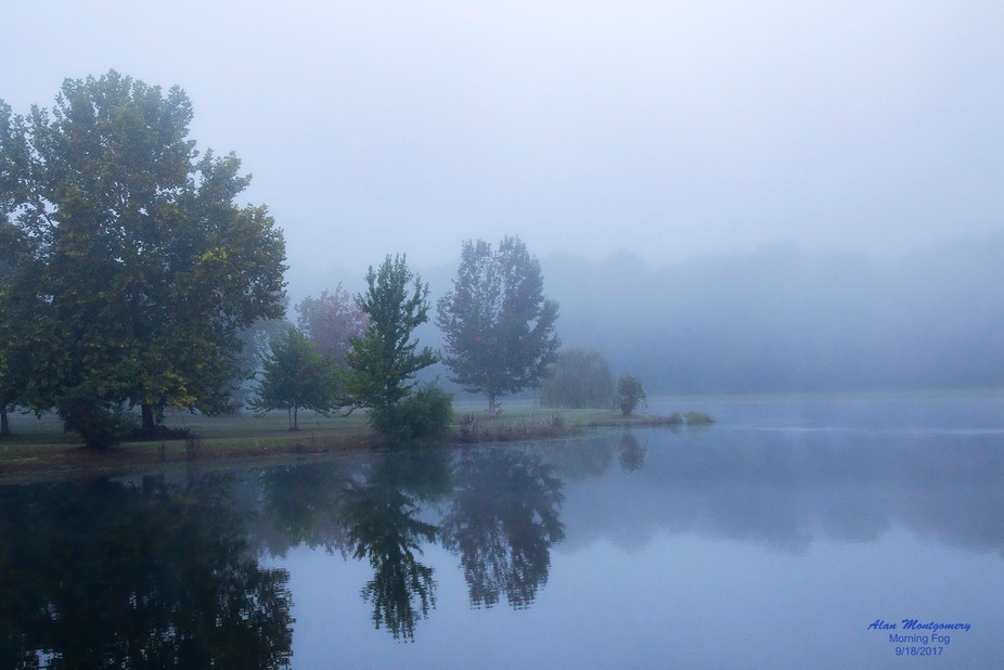 Image of the fog just beginning to burn off from the lake behind our house