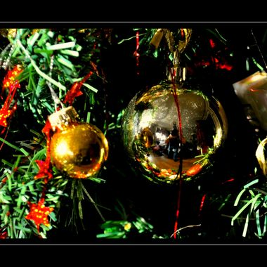 Golden Xmas baubles on a Xmas Tree.