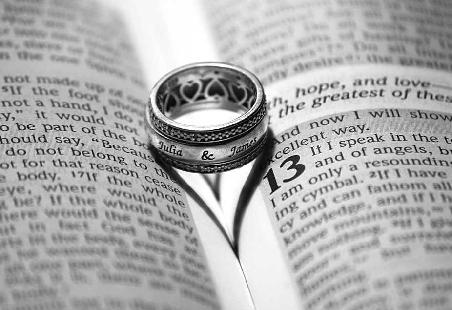 This is a picture of my wedding band. Next to the beautiful scripture of Love I Corinthians 13:4-5