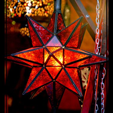 A glass illuminated Star as Xmas deco.