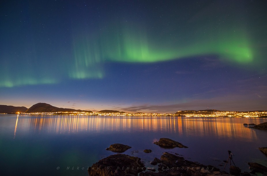 Sundown and Northern Light over Ålesund, Norway...just an amazing combination.  It was my first ...