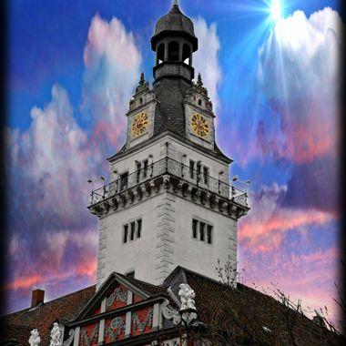 Clock Tower in Wolfenbüttel, Germany.