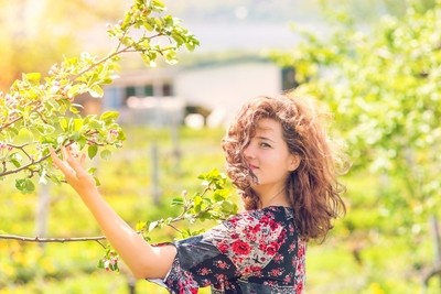 Young Woman During Sunset Holding Blooming Apple Tree Branch in Ile D'Orleans in Quebec, Canada