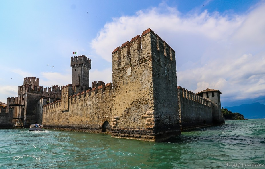 The old castle of Sirmione on Lago di Garda, Italy