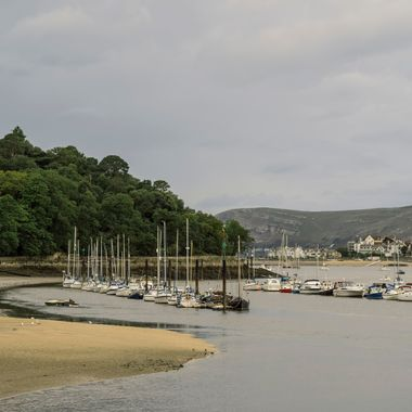 Part of the Conwy Marina, with the Great Orme beyond Deganwy.
