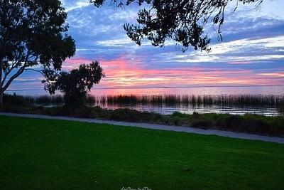 Sunset over Lake Albert. Meningie South Australia