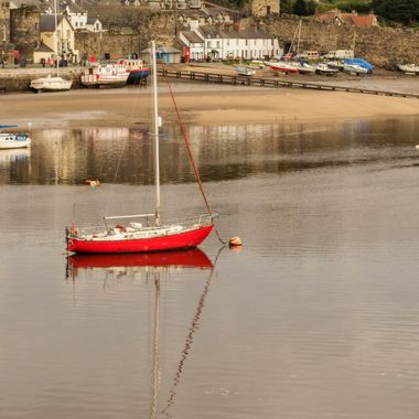 A red yacht moored at Conwy caught my eye, probably caught everyone's eye ...