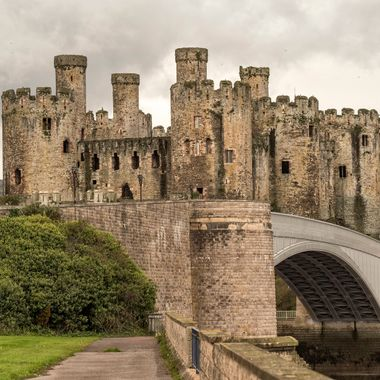 Conwy Castle and road bridge in a quiet moment