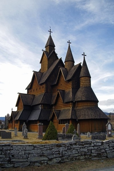The stavechurch in Heddal, Norway, built about 1200 AD