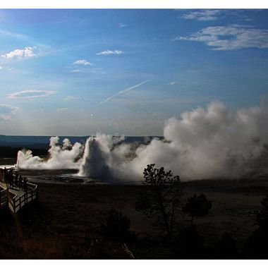Overlooking the Geysers at Yellowstone National Park