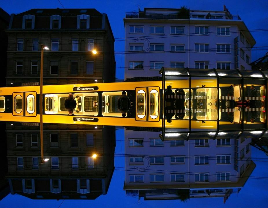 Mirror edit of a photo taken of the tram in Stuttgart, Germany - Nov. 2016.