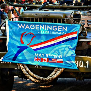 Start vehicle from the Holland Liberation Day Parade at Wageningen.