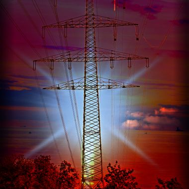 Manipulated Photo of a Pylon.