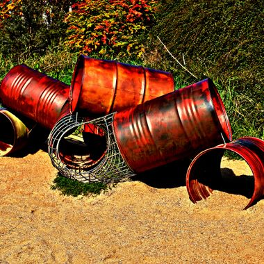 Barrels constructed into a play object.