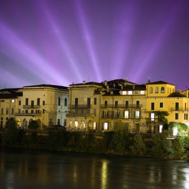 While walking along the Adige River I was lucky enough to catch this rare sight.  Was it the ghosts of Mercutio and Tybalt locked in eternal battle?  Naw, laser lights from the arena.