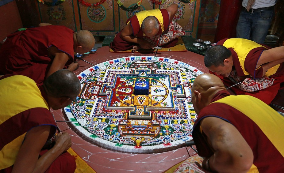 """It is worth looking up """"Sand Mandala"""". I was immensely fortunate not only to watch this one being created, but also to be allowed to photograph it. Everything in this world is impermanent, and when the mandala is finished the monks destroy it..."""