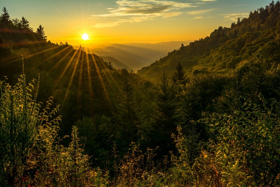Beautiful golden light fills the Newfound Gap in the Great Smoky Mountains National Park as Autum...