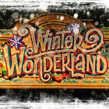 Entrance sign to Winter Wonderland in London.