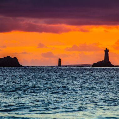 """Sunset, baie des Trépassés, lighthouse """"La vieille"""". Picture taken in Bretagne, France"""