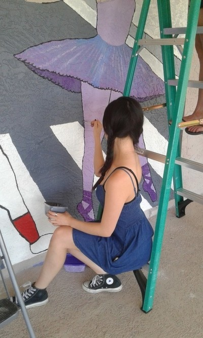 Helping with the Abby Road mural