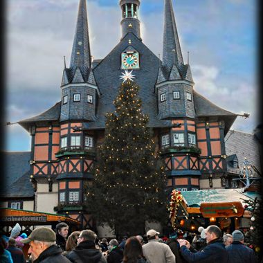 Beautiful building in a village in the Harz Mts Germany, Xmas time