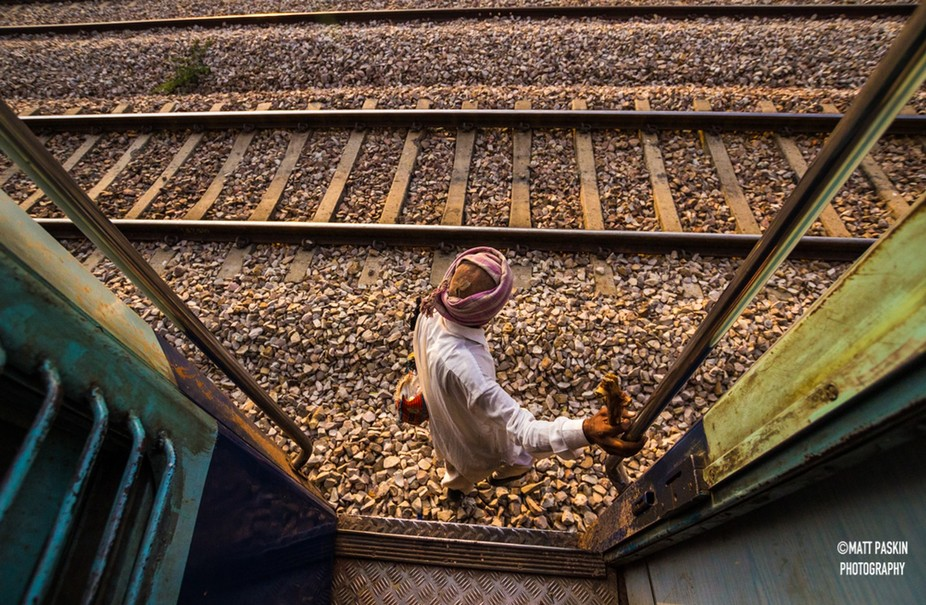 Captured on a train leaving Bundi, India 2014. The train made an unscheduled stop, which provided...