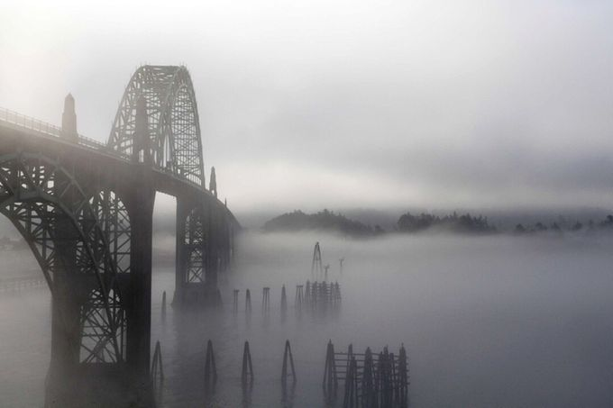 Yaquina Bay Bridge, Newport, Oregon by photosanity - Fog And City Photo Contest