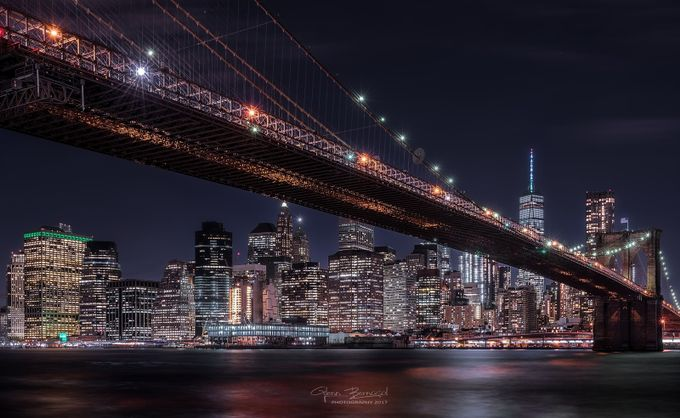 Brooklyn Bridge crossing New York Skyline by glennbernasol - City In The Night Photo Contest