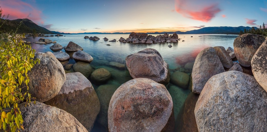 """""""Tahoe Boulders at Sunset 18"""" - Stitched panoramic photograph of boulders at Hi..."""