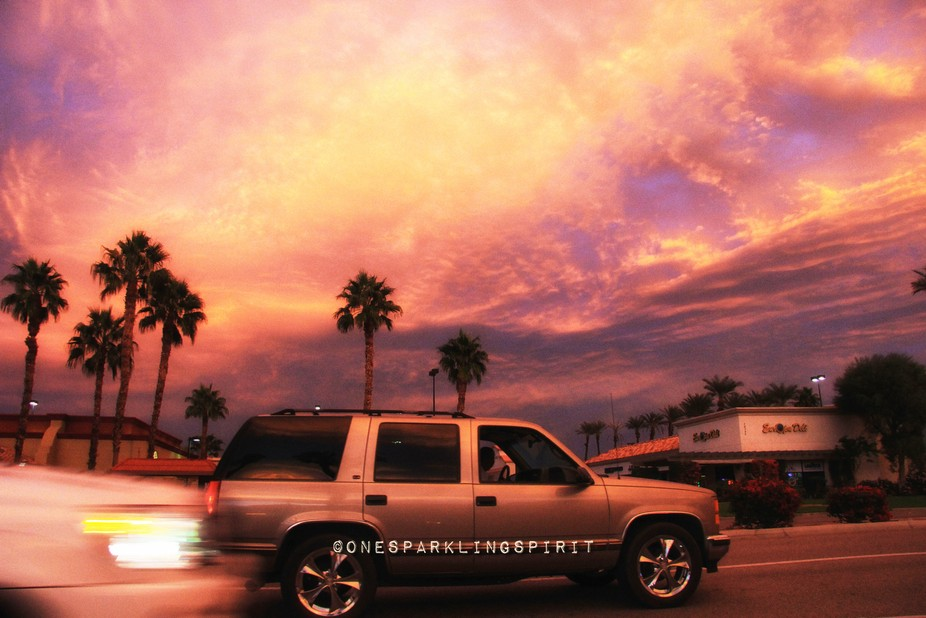 Beautiful lighting in Palm Springs. Picture taken out of a car.